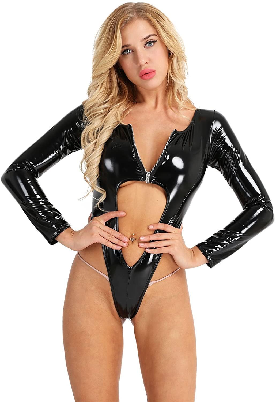 iEFiEL Women Wet Look Patent Leather Long Sleeve Front Zipper High Cut Thong Leotard Bodysuit Jumpsuit