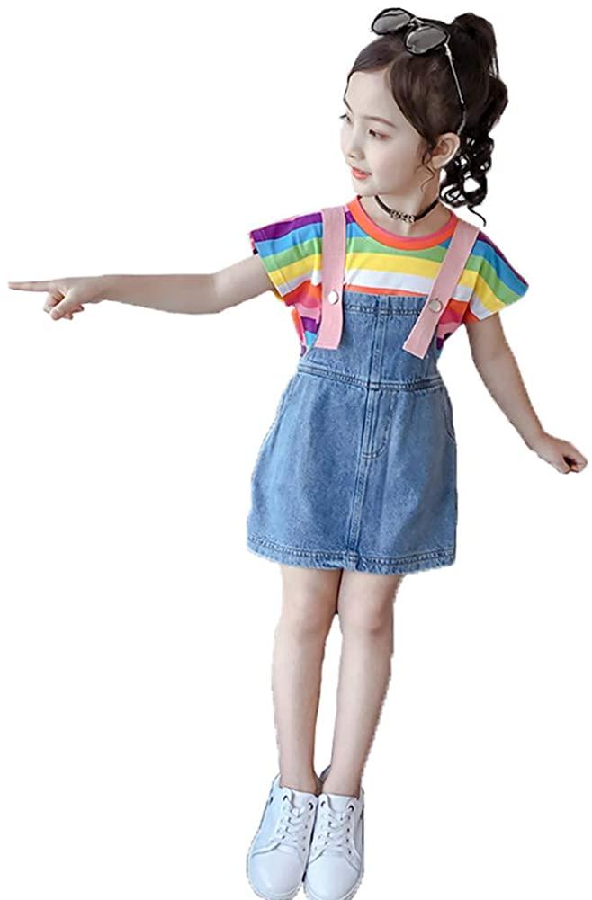Little&Big Girls Summer Rainbow Candy T-Shirt Skirts Suspender Dress 2 Pcs Clothing Set