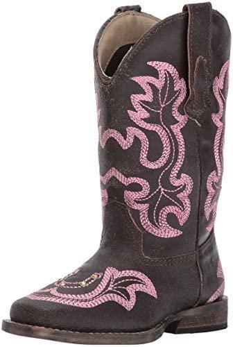 ROPER Girls' Rhinestone Horseshoe Cowgirl Boot Square Toe - 09-018-0903-2008 Br