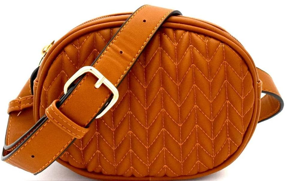 Quilted Pattern PU Leather Fashion Round Fanny Pack