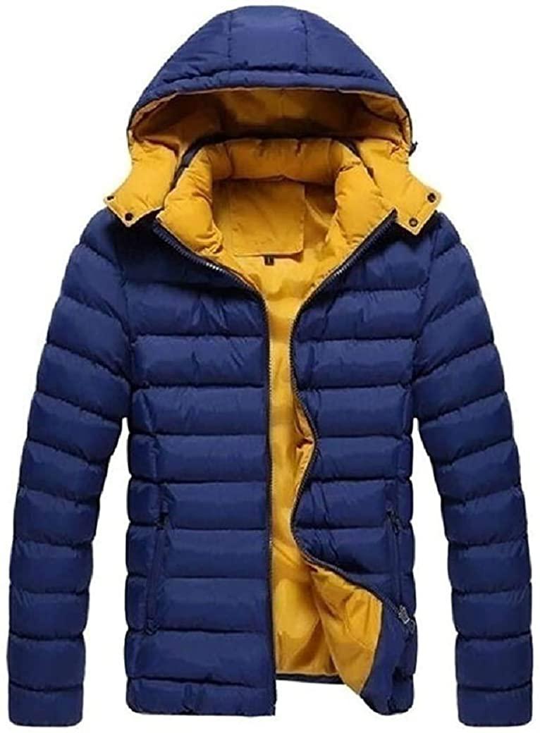 Fnbdyfjdsf Men Keep Warm Lightweight Fall Winter Zipper Hooded Parka Jacket,Navy Blue,X-Large