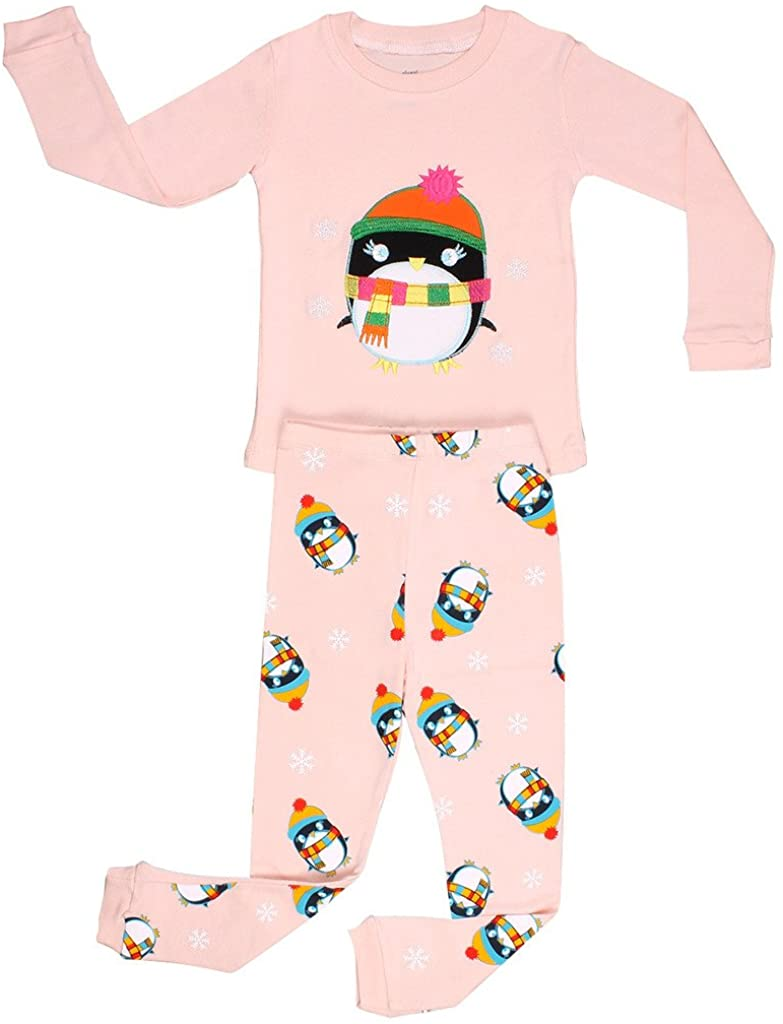 Elowel Little Girls Penguin 2 Piece Pajama Set 100% Cotton (Size6M-8Y) Christmas
