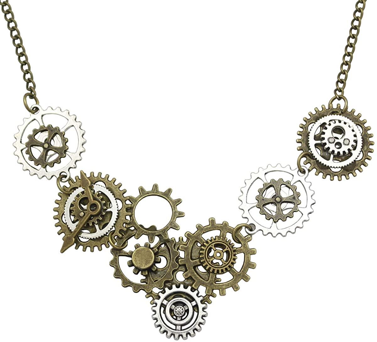 RechicGu Style A Watch Clock Clockwork Hand Gear Cog Steampunk Necklace Vintage Gold and Silver
