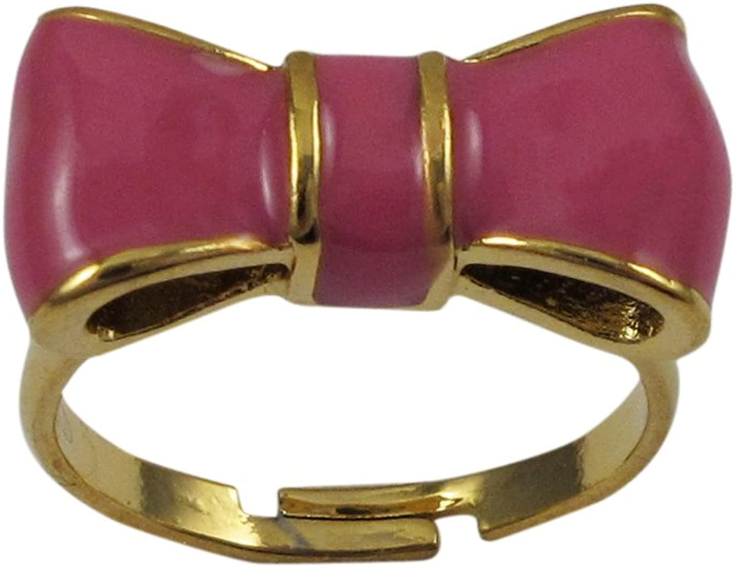 Ivy and Max Gold Finish Hot Pink Bow Adjustable Girls Ring