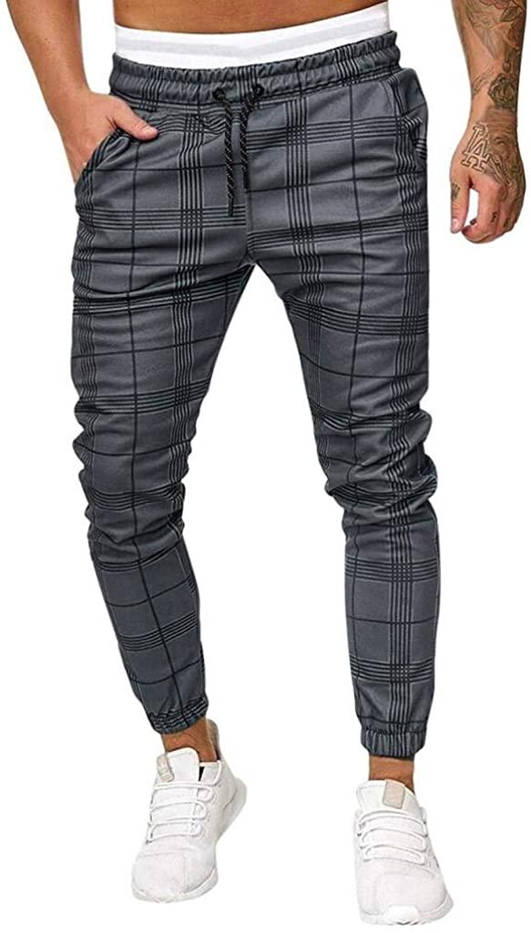 terbklf Men's Long Casual Sport Pants Slim Fit Plaid Trousers Running Joggers Sweatpants