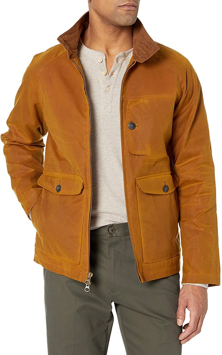 Billy Reid Mens Waxed Cotton Water Resistant Fully Lined Dempsey Jacket