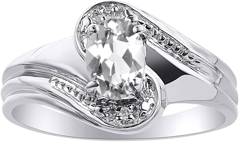 Diamond & White Topaz Ring Set In 14K White Gold - Color Stone Birthstone Ring