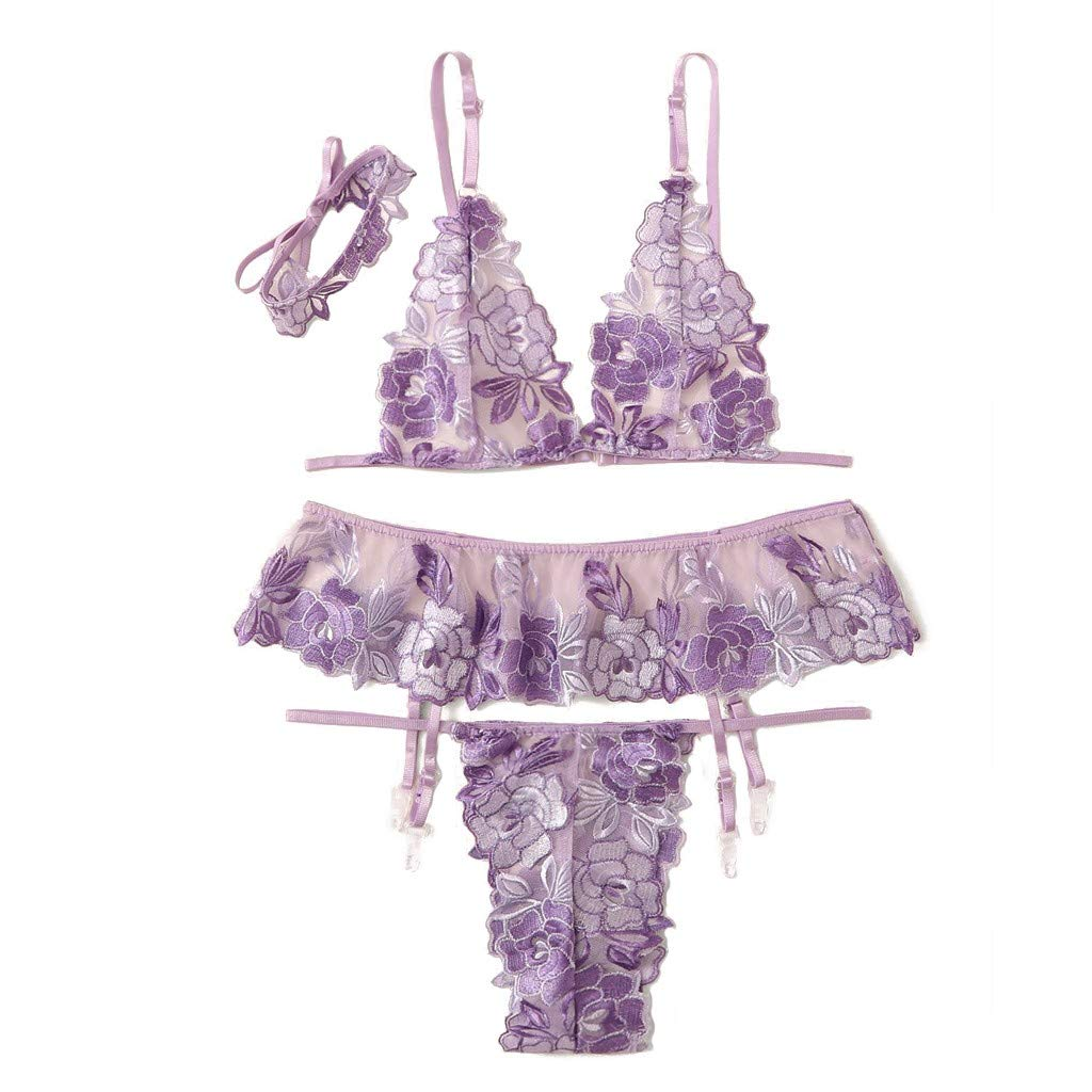 Women Underwear New Sexy Women Embroidery Lace Lingerie Underwear Thong Garter Bra Choker Set  Embroidered Lace Four-Piece Sexy Lingerie