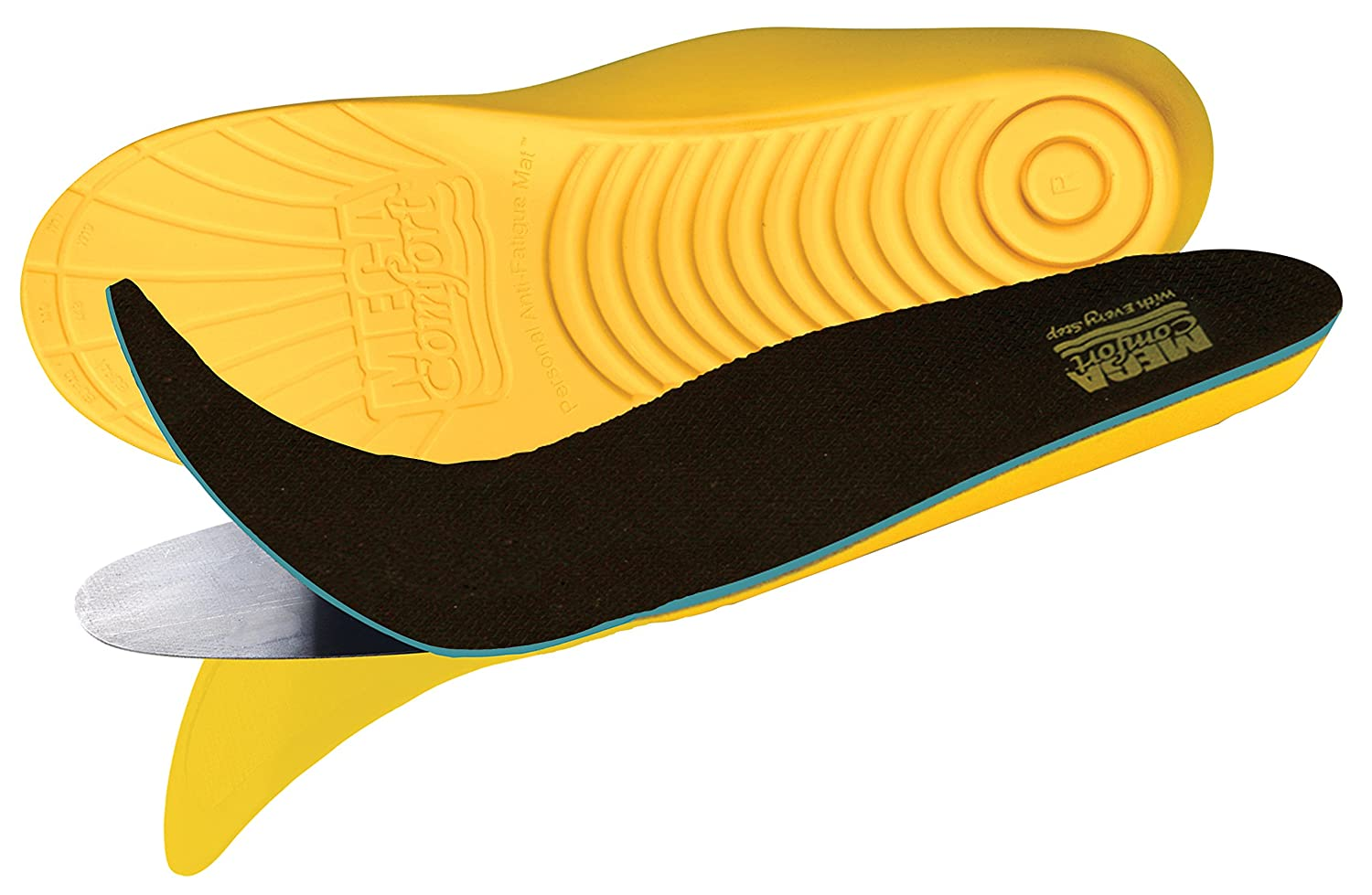 MEGAComfort PAM Puncture Resistant Insoles; Dual Layer 100% Memory Foam and Flexible Steel Plate for Enhanced Safety, Comfort and Protection, Men's Size 8-9, Women's Size 10-11, Yellow/Black