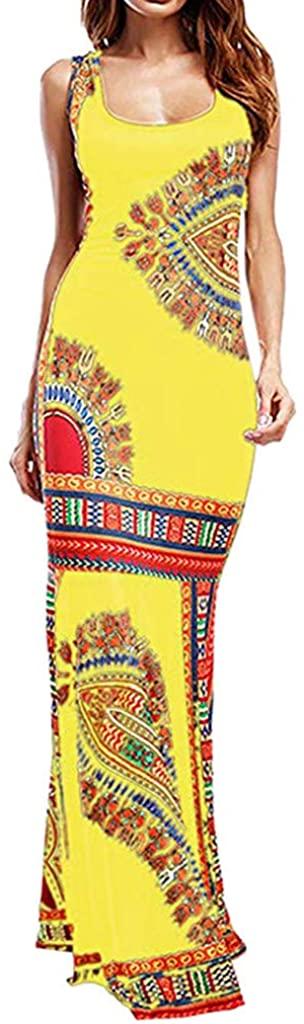 Women's Floral Sleeveless Dashiki Maxi Dress Tank Tops African Dresses (XXL, Yellow)