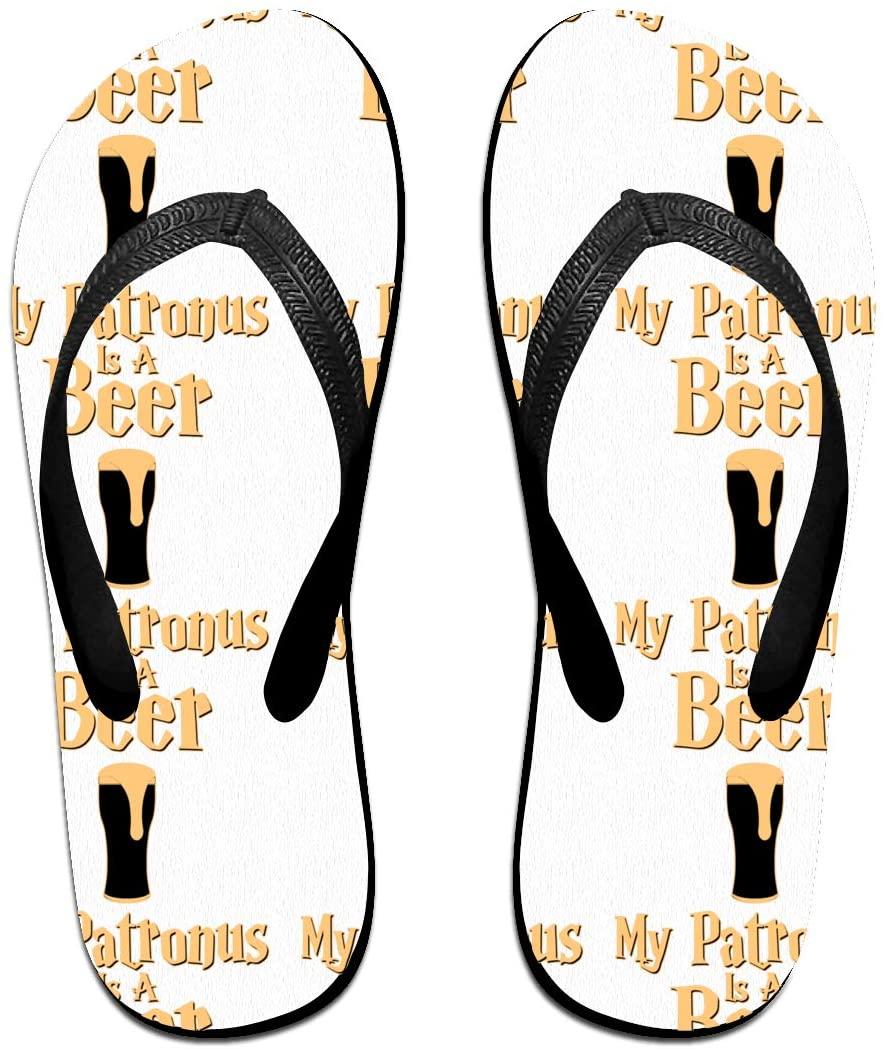 LzVong My Patronus is A Beer Flip Flops Beach Slippers Flat Sandals