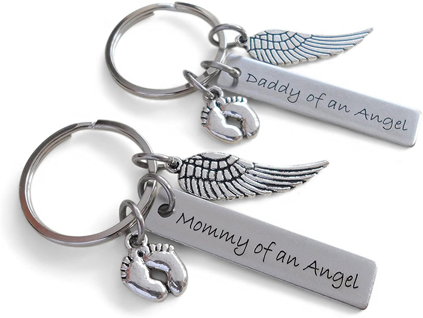 Set of 2 Keychains, Daddy of an Angel & Mommy of an Angel Engraved Baby Memorial Keychains, Wing & Baby Feet Charm