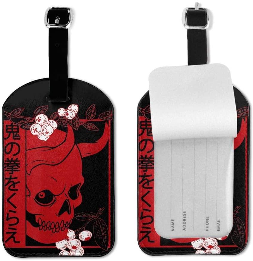 Zwj Japanese Demon Art Face Skull Devil Oni Harajuku Aesthetic Luggage Tag Travel Id Label Leather for Baggage Suitcase 1 Piece