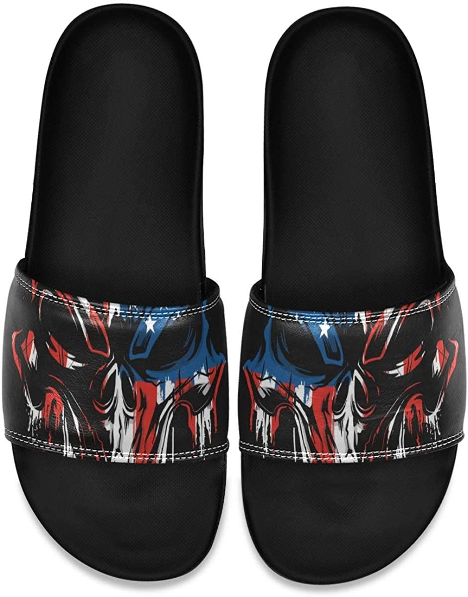 PAPIA Men's Athletic Slide Sandal Comfort Lightweight Shoe,Green Skull,Size 7