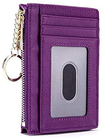 Aslana Front Pocket Minimalist Genuine Leather Slim Wallets ID Holder RFID Blocking Keychain Zipper Pocket (Purple)