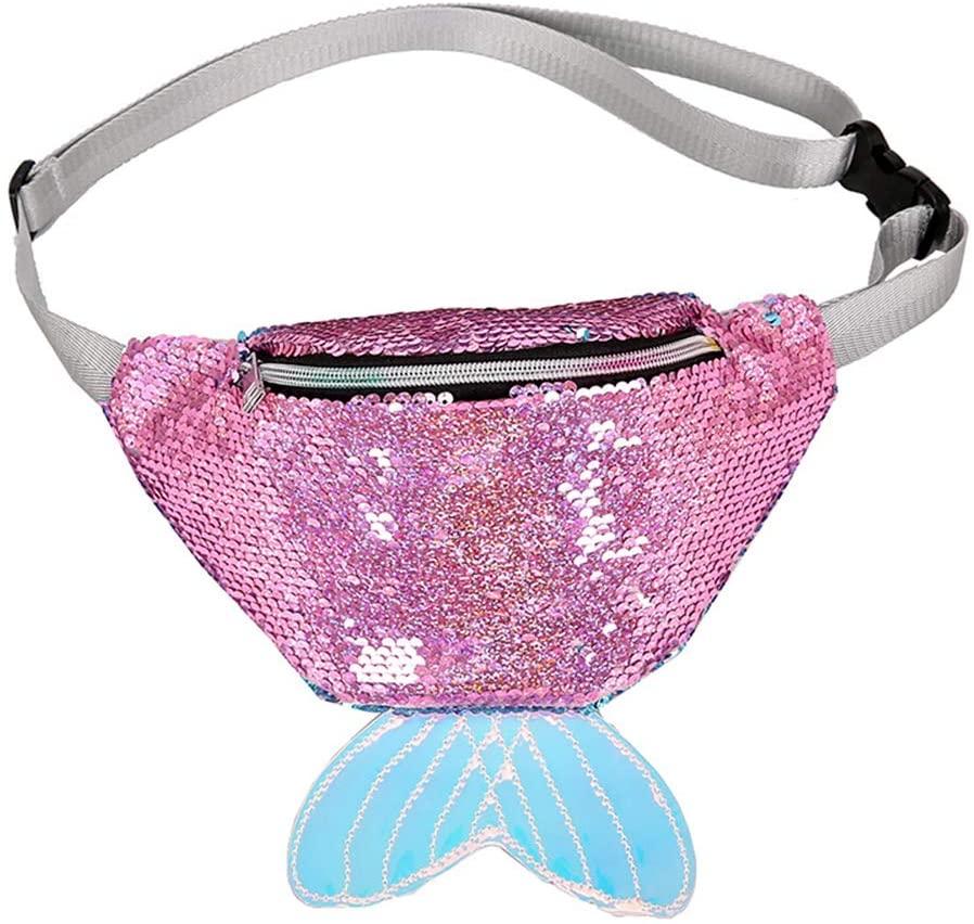 FENICAL Fanny Pack Sequin Mermaid Tail Waist Bag Glitter Chest Bag Flippy Sling Bag for Women Girls - Pink