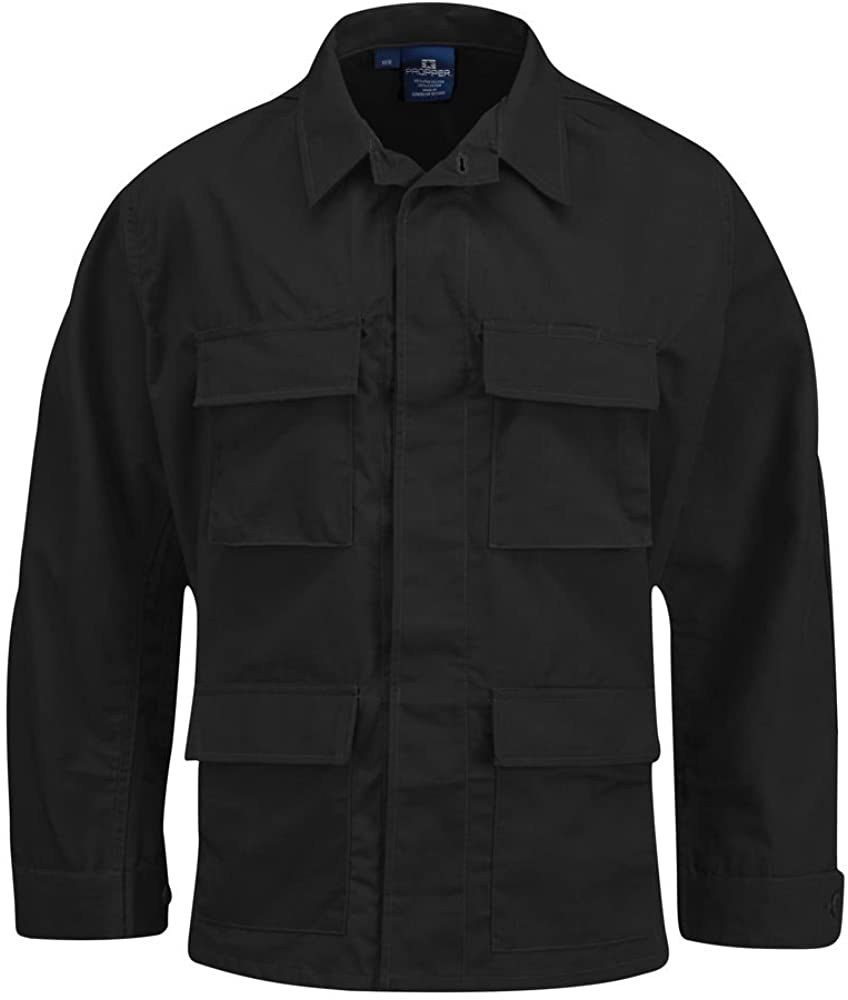 Propper BDU 4-Pocket Coat, 60/40 Cotton/Poly Twill, Extra Small-Regular, F545412001XS2 Black
