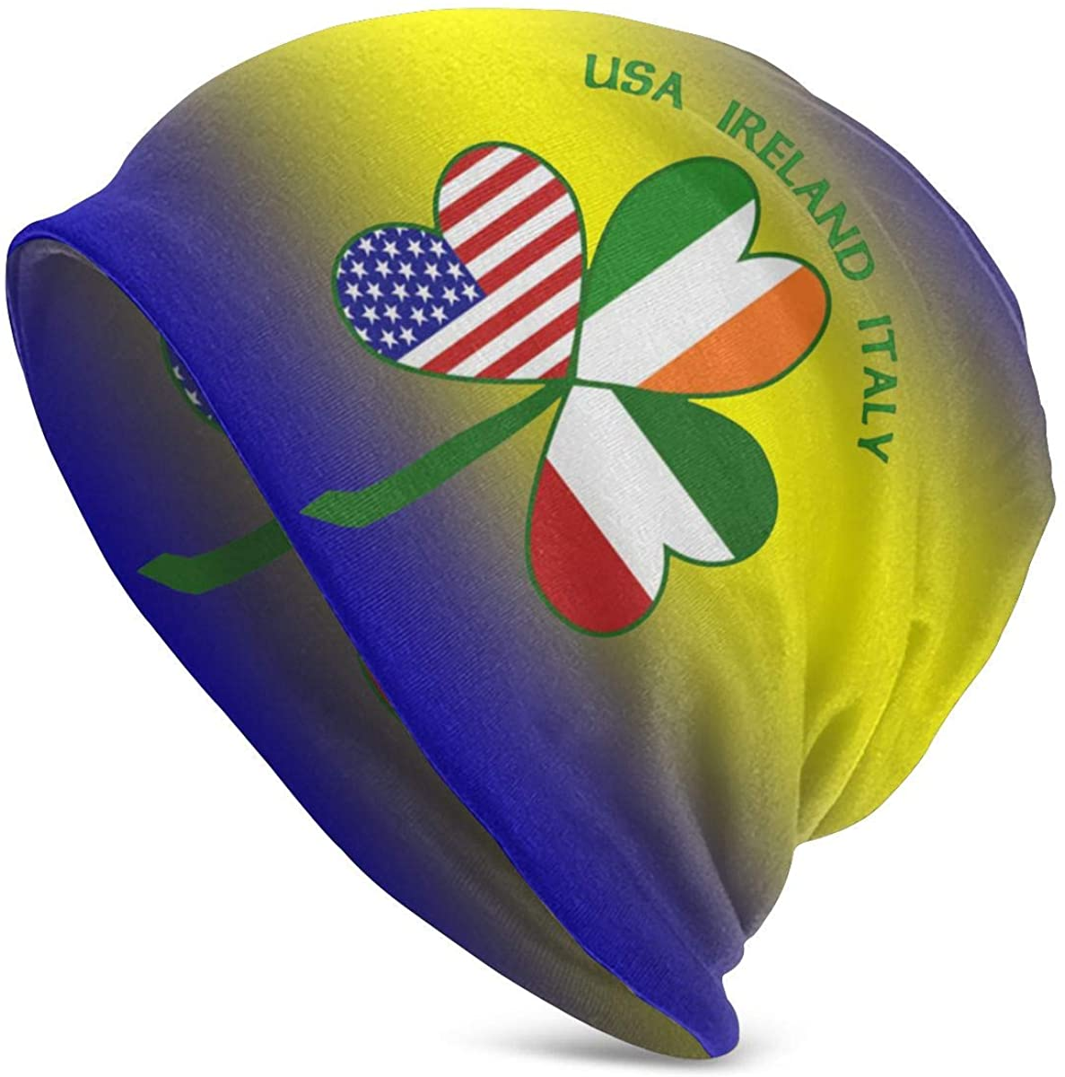 DDSH Italian Irish USA Shamrock Unisex Adult Knit Hat Winter Summer Slouchy Beanie Skull Cap