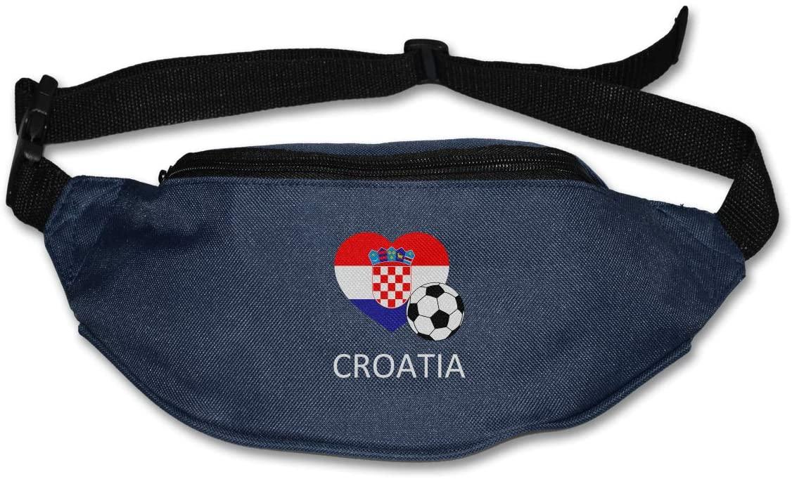 SWEET-YZ Unisex Waist Pack Love Croatia Soccer Flat Fanny Bag Pack for Sport Running