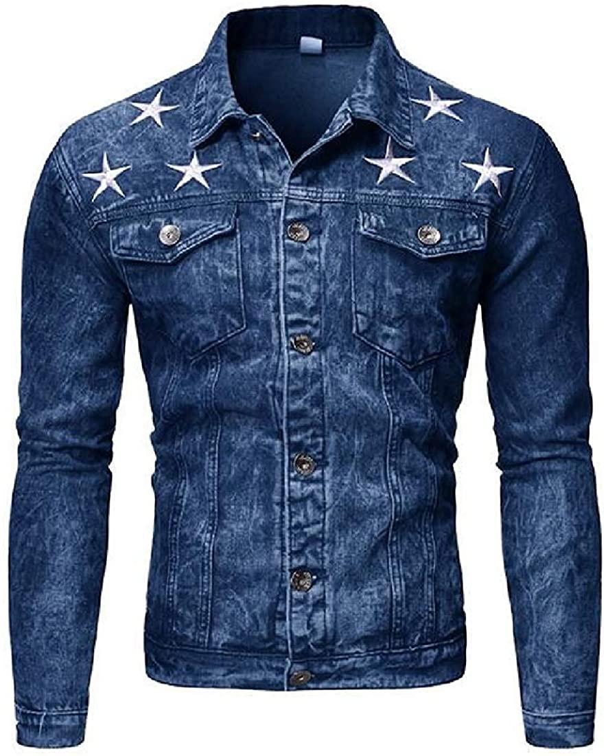 Sudhguyfuy Men's Denim Jacket Regular Fit Button Star Casual Denim Trucker Jacket Coat,Blue,US-XL