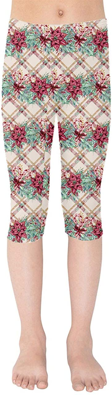 Youth Capri Leggings - Poinsettia Plaid Christmas Red