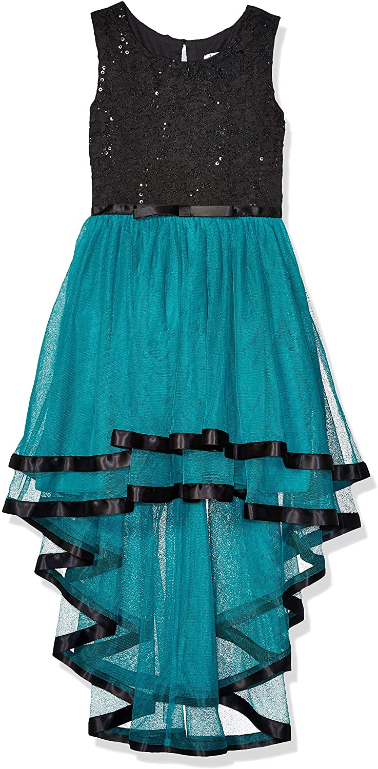 Speechless Girls' Ribbon Waist Party Dress with Tulle Bottom