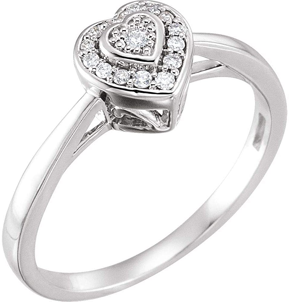 Diamond Ring, Halo-Style Heart Promise Ring