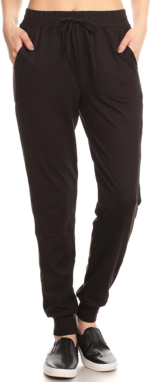ShoSho Womens Joggers Track Pants Mesh Panels Super Soft Sweatpants Pockets Solid Black X-Large
