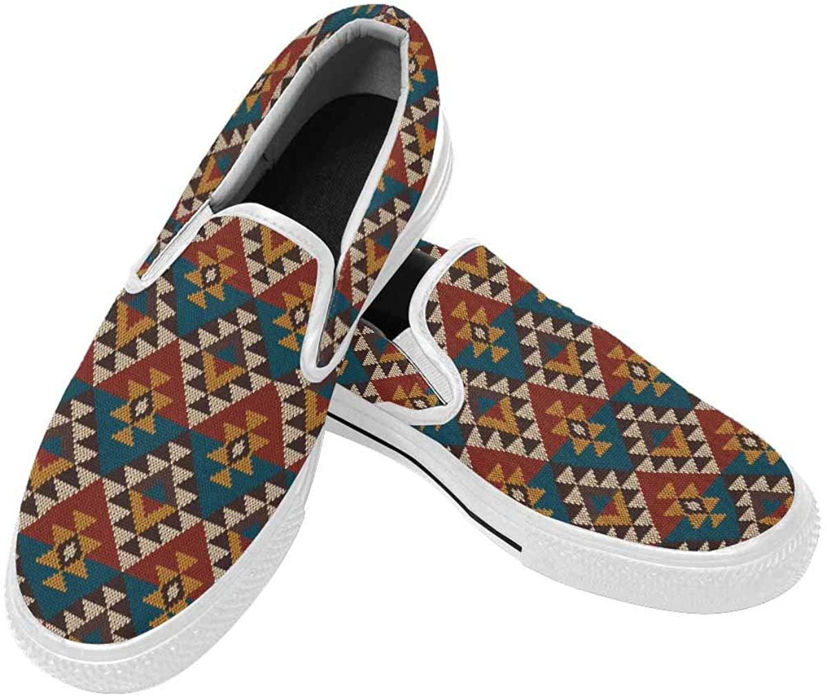 InterestPrint Men Loafers Slip on Sneakers Casual Comfort Lightweight Canvas Shoes Knit Aztec Tribal