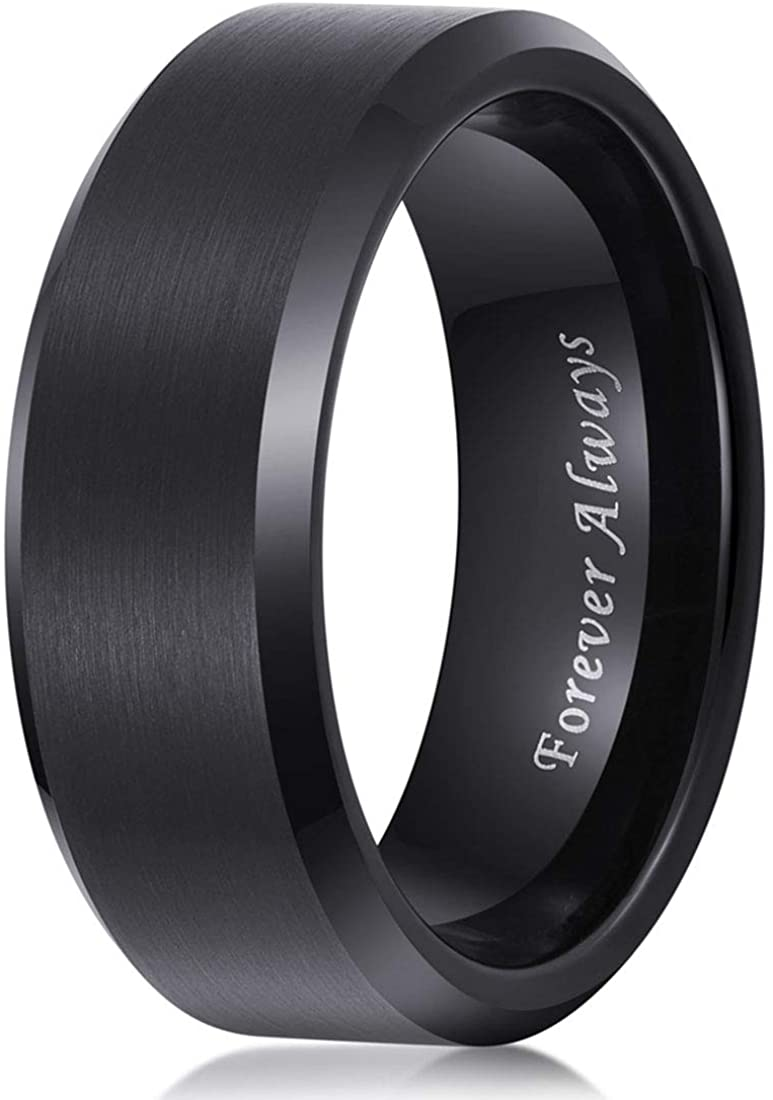 Mens Wedding Band Tungsten Carbide Ring 8mm Men Engagement Promise Women,Black Blue Gold White,Brushed,Comfort,I Love You