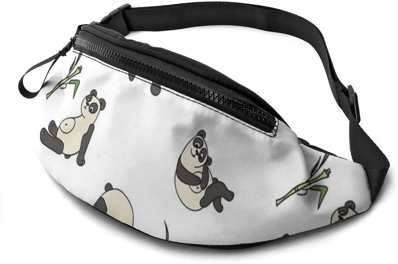 Cartoon Panda Fanny Pack For Men Women Waist Pack Bag With Headphone Jack And Zipper Pockets Adjustable Straps