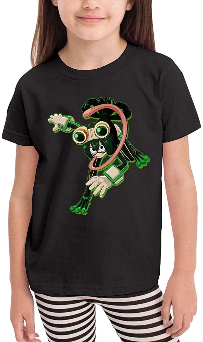 Jimdodo Boys My Hero Academia Asui T Shirts 100% Cotton Short Sleeve Tee Black