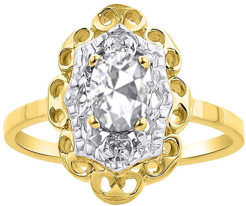 Diamond & White Topaz Ring Set In 14K Yellow Gold Diamond Halo
