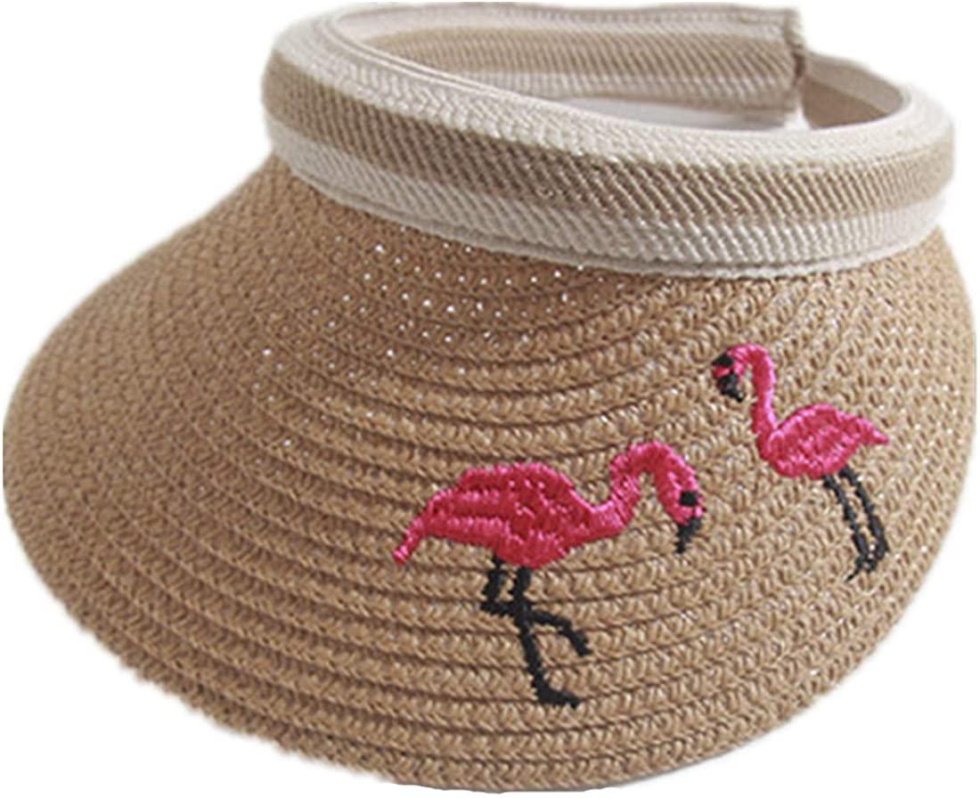 Globalwells Child Golf Fashion Visor Beach Straw with Flamingo Ponycaps Sun Hat Ponytail Cap Cap