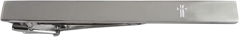 Kiola Designs Silver Toned Etched Religious Cross Square Tie Clip