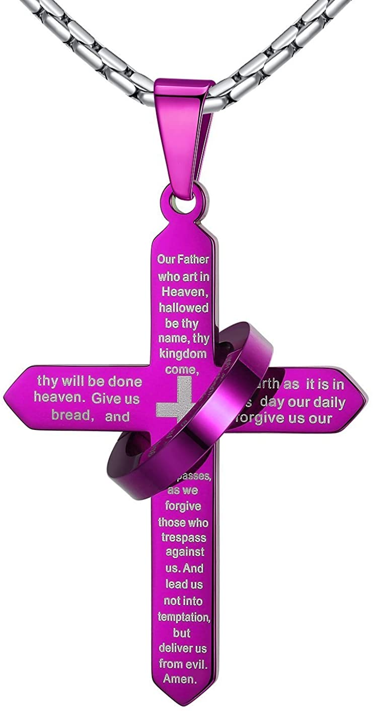 Aoiy Stainless Steel Our Father Lord's Prayer Cross Halo Pendant Necklace, Unisex, 23'' Link Chain