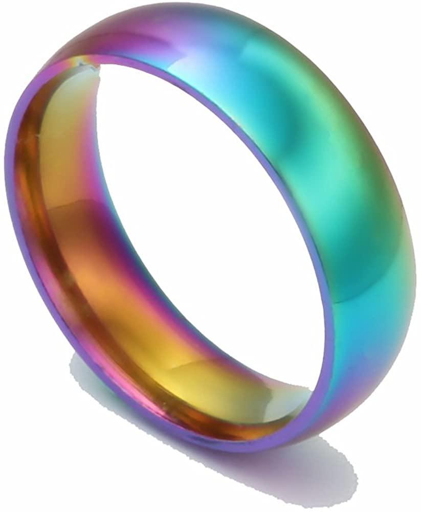 WSHINE 2PCS Unisex's Classic 6MM Titanium Stainless Steel Colorful Rainbow Rings