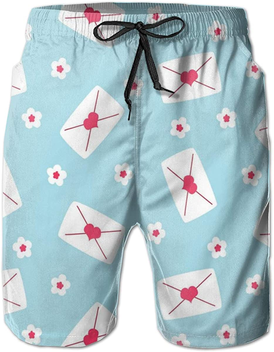 Men's Swim Trunks Quick Dry Beach Shorts Love Letters with Heart Seal and Tiny Pretty Flowers Print XXL