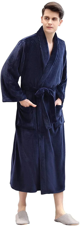 HTCECOM Men's Luxury Full Length Big & Tall Bathrobe, Soft Plush Fleece Robe for Men & Women, Long Sleeve Shawl Kimono