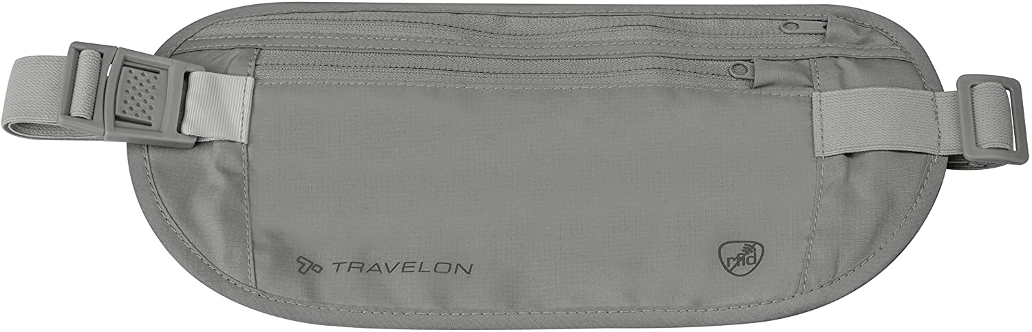 Travelon RFID Blocking Undergarment Waist Pouch, Gray, One Size