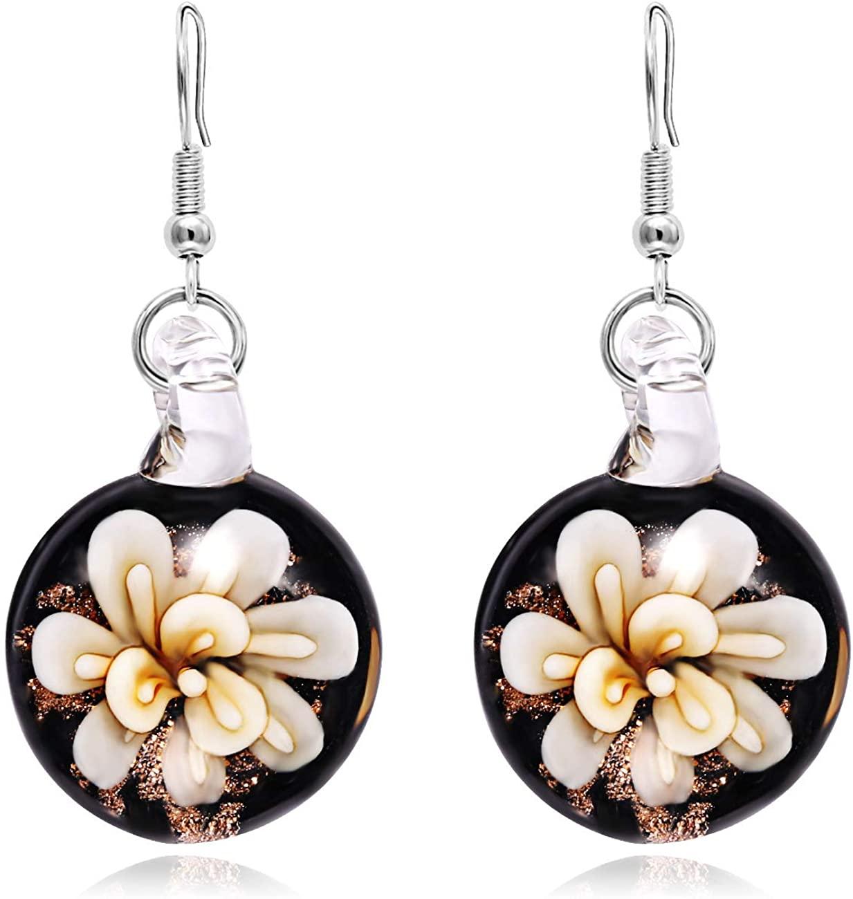 VEINTI+1 Exotic Style Eye-catcher Handmade Circle Shape Black Base with Flower Design Colorful Glass Earrings