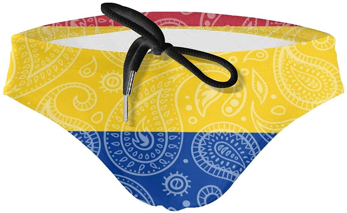 ZHXR Paisley Colombian Flag Men's Drawstring Swimsuit Bikini Sexy Briefs