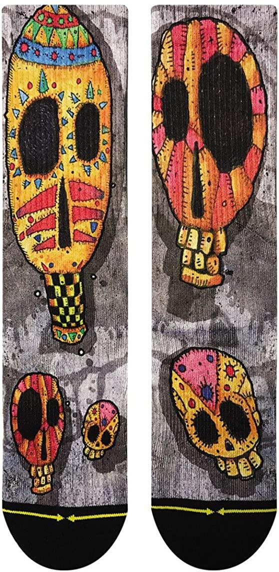Bad Otis Link Candy Skulls Adult Men's Crew Gray Red Artist Sock (Large)