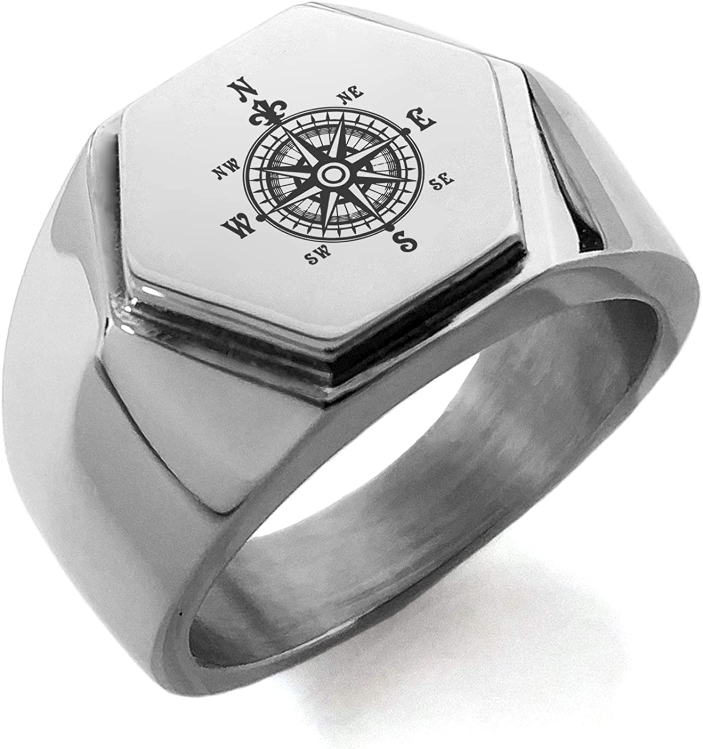 Stainless Steel Nautical Fleur de Lis Compass Hexagon Crest Flat Top Biker Style Polished Ring