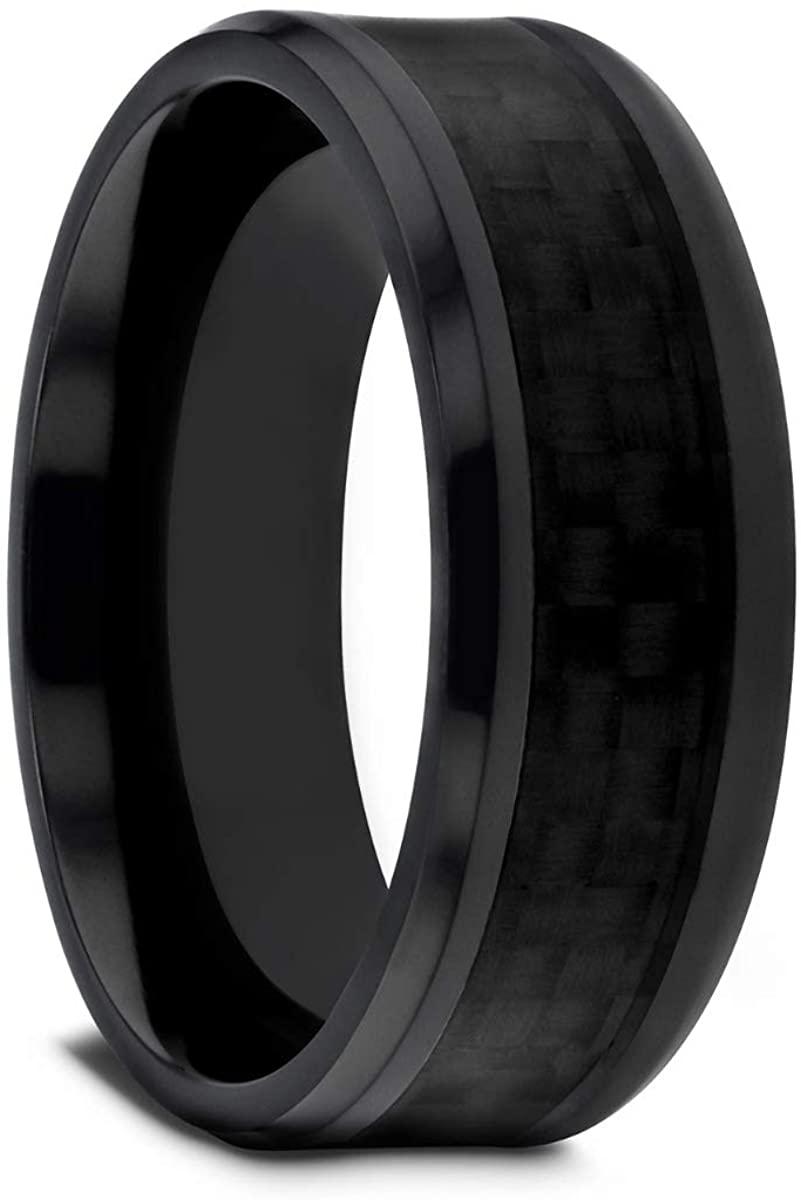 Thorsten OXYN | Titanium Rings for Men | Titanium | Comfort Fit | Custom Engraving | Black Titanium Wedding Ring with Black Carbon Fiber Inlay - 8mm