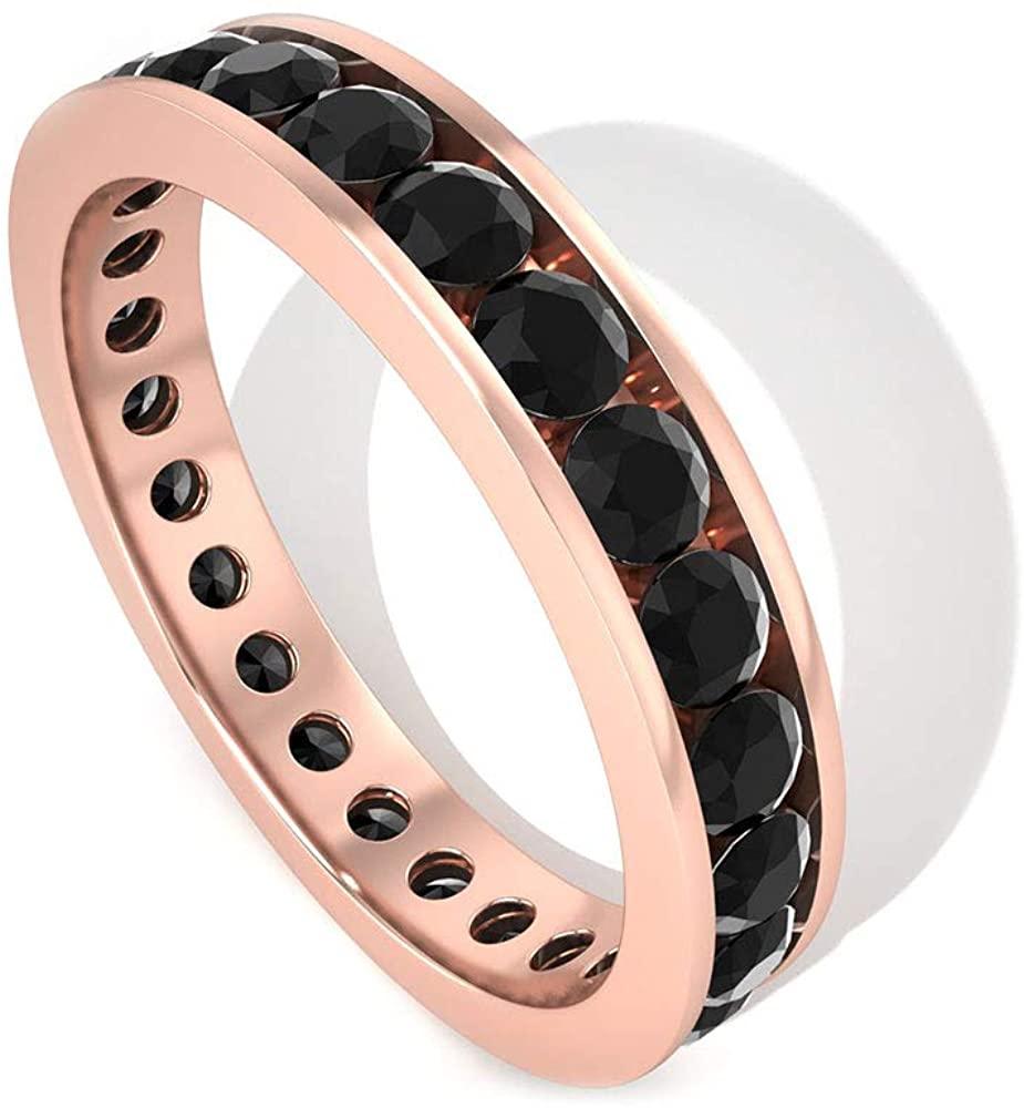 1.65Ct Black Diamond Wedding Anniversary Ring, Certified Diamond Full Eternity Ring Set, Minimal Stacking Matching Engagement Ring, Promise Rings, 14K Rose Gold, Size:US 7.5