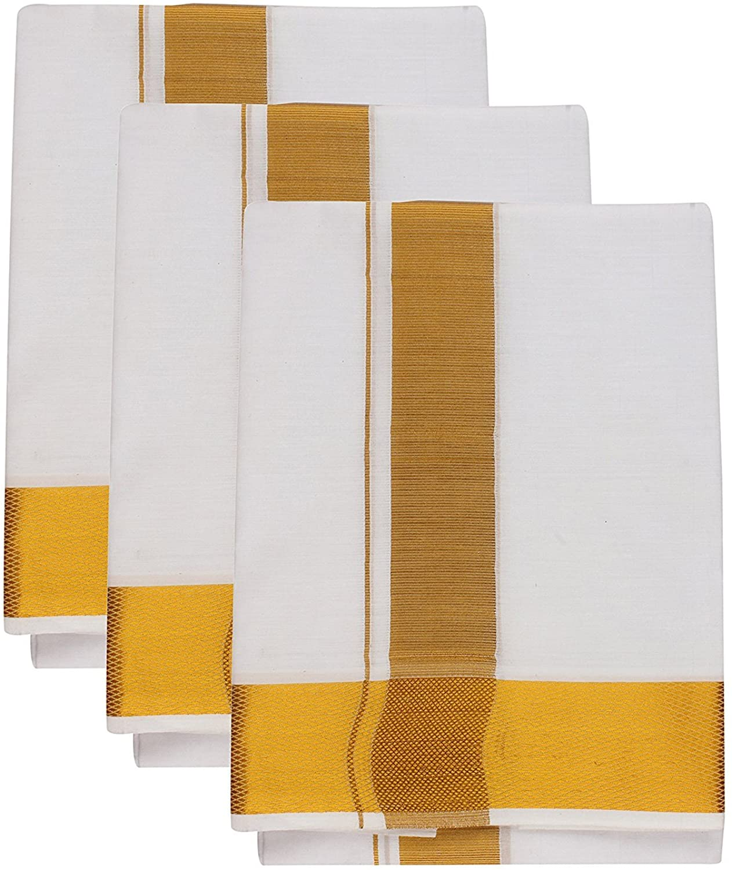 JISB Men's White Cotton Dhoti 3.6 Meter double dhoti, 3 Piece pack