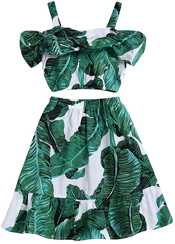 Little Kids Girls Summer Dress Clothing Outfit Fashionable Leaf 2PC Skirt Sets