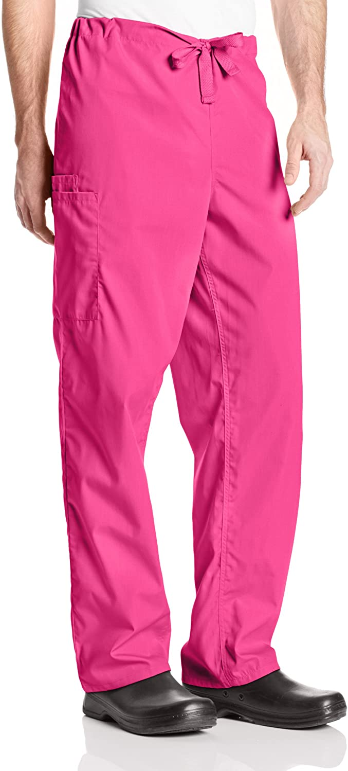 Cherokee Big and Tall Originals Unisex Drawstring Cargo Scrubs Pant, Shocking Pink, XXX-Large