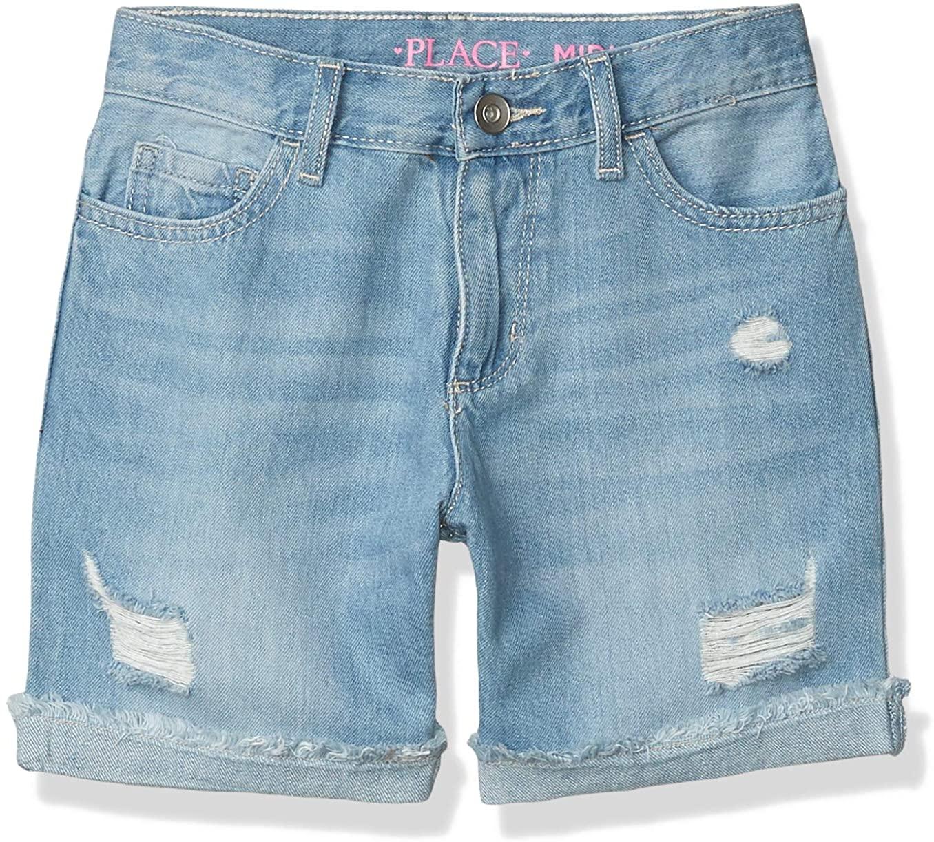 The Children's Place Girls Size Slim Destroyed Demim Shorts
